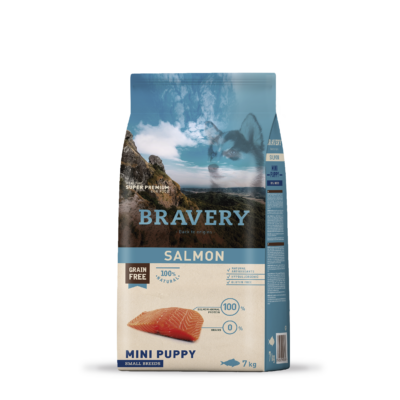 BRAVERY HIPOALLERGÉN kutyatáp KISTESTŰ KÖLYÖK kutyáknak lazac 7 kg (GABONAMENTES)