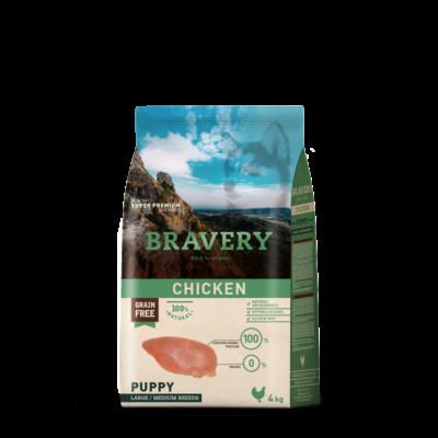 BRAVERY HIPOALLERGÉN JUNIOR kutyatáp csirke 4 kg (GABONAMENTES)