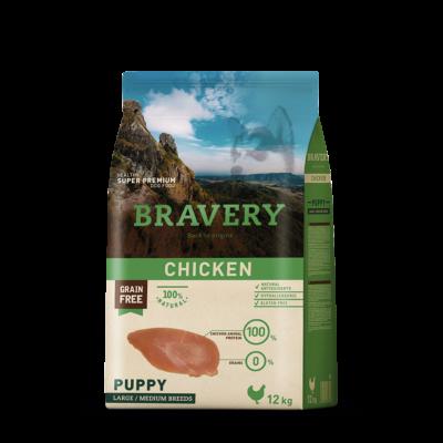 BRAVERY HIPOALLERGÉN JUNIOR kutyatáp csirke 12 kg (GABONAMENTES)