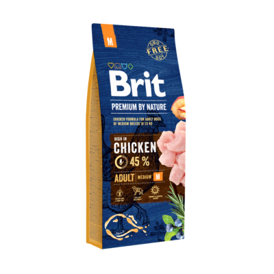 Brit PREMIUM kutyatáp KÖZEPES TESTŰ kutyáknak Friss csirke 15 kg