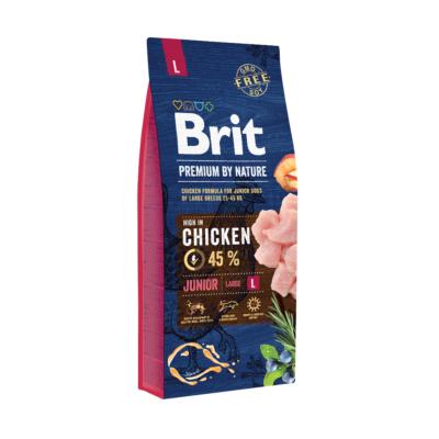 Brit PREMIUM JUNIOR kutyatáp NAGYTESTŰ kutyáknak Friss csirke 15 kg