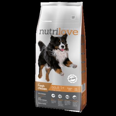 Nutrilove ACTIVE PREMIUM kutyatáp NAGYTESTŰ kutyáknak Friss csirke 12 kg