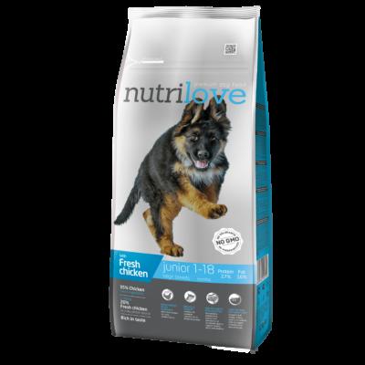 Nutrilove PRÉMIUM JUNIOR kutyatáp NAGYTESTŰ kutyáknak Friss csirke 12 kg