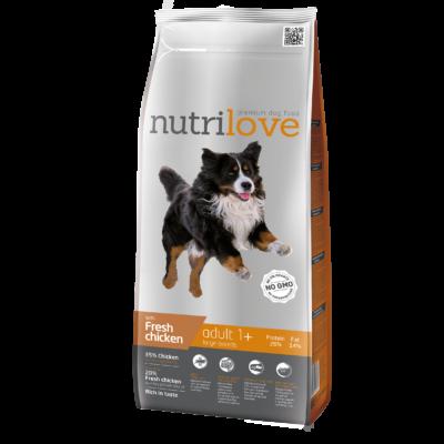Nutrilove PRÉMIUM kutyatáp NAGYTESTŰ kutyáknak Friss csirke 3 kg