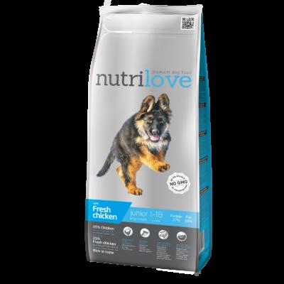 Nutrilove PRÉMIUM JUNIOR kutyatáp NAGYTESTŰ kutyáknak Friss csirke 3 kg