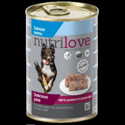 Nutrilove 60% Pate kutya konzerv lazac 400g