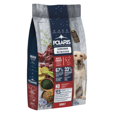 POLARIS Labrador fajtatáp FRISS HÚSSAL marha-pulyka 12 kg (GABONAMENTES)