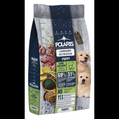 POLARIS JUNIOR Labrador fajtatáp FRISS HÚSSAL bárány-lazac 12 kg (GABONAMENTES) + 2,5 kg-os ajándék
