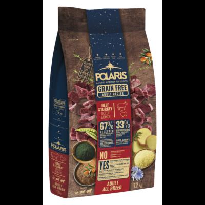POLARIS kutyatáp FRISS HÚSSAL marha-pulyka 12 kg (GABONAMENTES) +2,5 kg ajándék