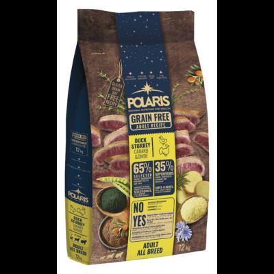 POLARIS kutyatáp FRISS HÚSSAL kacsa-pulyka 12 kg (GABONAMENTES) +2,5 kg ajándék