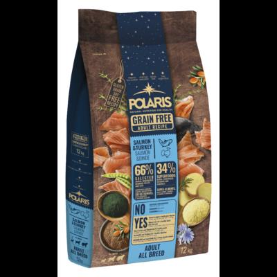 POLARIS kutyatáp FRISS HÚSSAL lazac-pulyka 12 kg (GABONAMENTES) + 2,5 kg ajándék