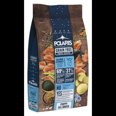 POLARIS JUNIOR kutyatáp FRISS HÚSSAL lazac-pulyka 12 kg (GABONAMENTES) + 2,5 kg ajándék